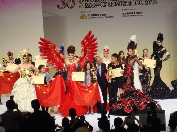 本校视频蝉联36届亚洲选手封禁化妆形象设计一发陈大赛发型图片