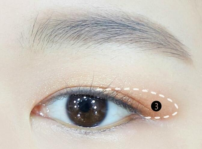一点的橙棕色的眼影晕染