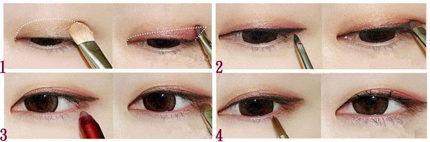 冬季红色眼妆分解图